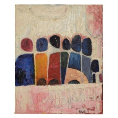 """Abstract Painting Signed """"Shell"""", Mid-Century Modern"""