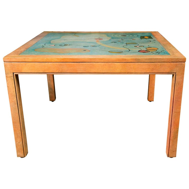 Abstract Painting Square Table For Sale