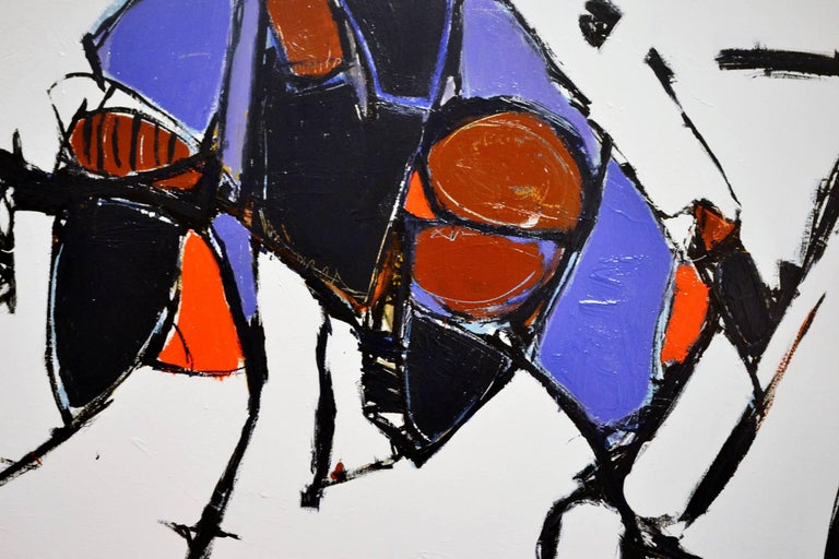 A striking abstract painting of a bull by listed artist Kenneth Joaquin (b. 1948) titled Toro. Executed in acrylic canvas, signed lower right. This painting is currently part of a collection on exhibit in a show entitled Creative Relevance. Ken's