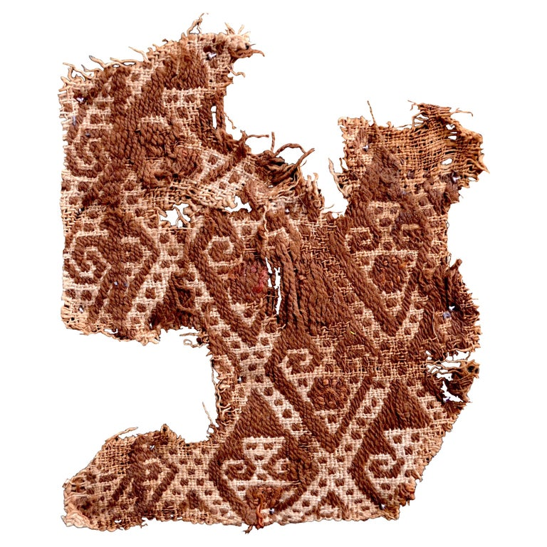 Abstract Paracas Precolumbian Textile, Peru, 1100-1400 AD, Ex Ferdinand Anton For Sale