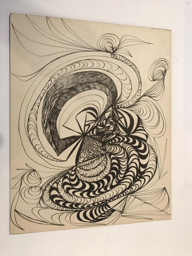 Mid-Century Modern Abstract Pencil Painting For Sale