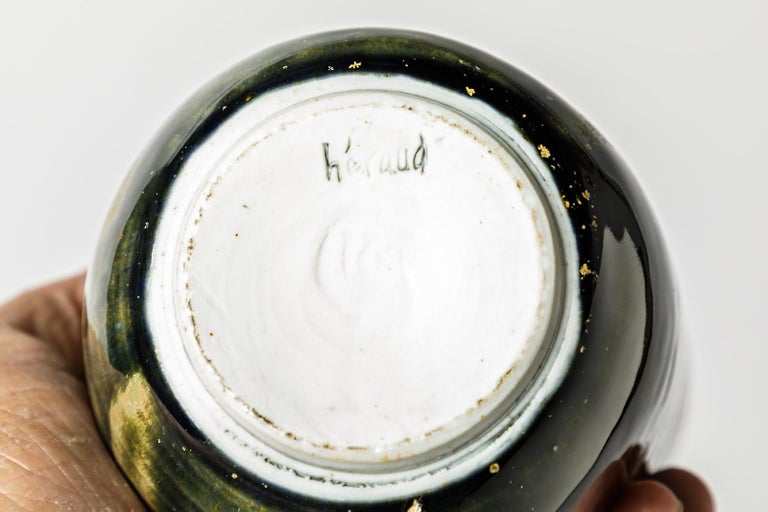 French Abstract Porcelain Brown and Green Ceramic Bottle by Héraud La Borne circa 1970 For Sale
