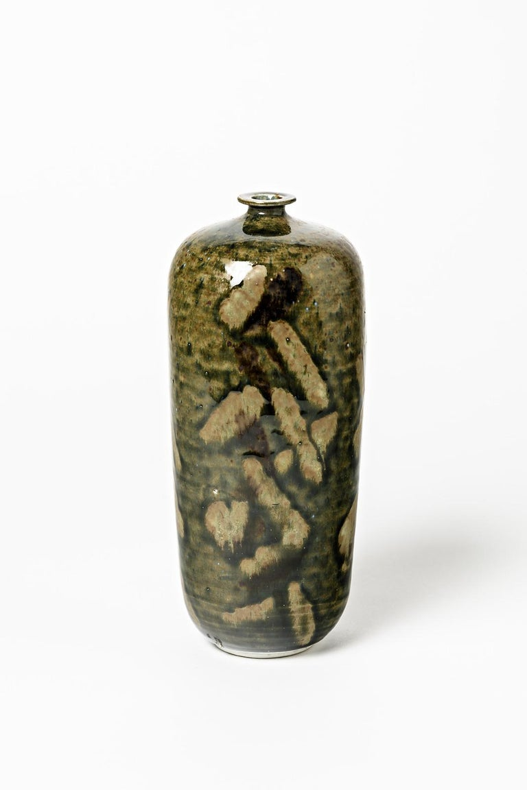 Abstract Porcelain Brown and Green Ceramic Bottle by Héraud La Borne circa 1970 In Excellent Condition For Sale In Neuilly-en- sancerre, FR
