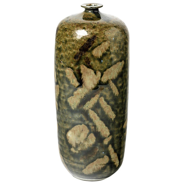 Abstract Porcelain Brown and Green Ceramic Bottle by Héraud La Borne circa 1970 For Sale