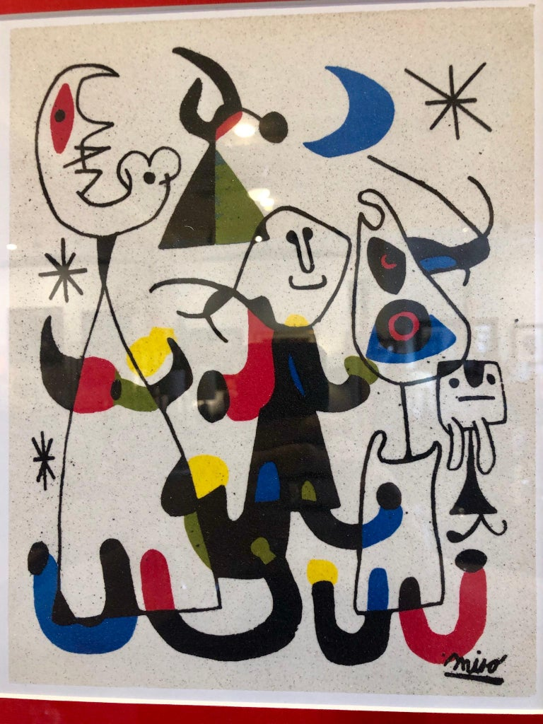 Beautiful Miro reproduction printed on marble dust paper, rare one of a kind hand finished and freshly framed.