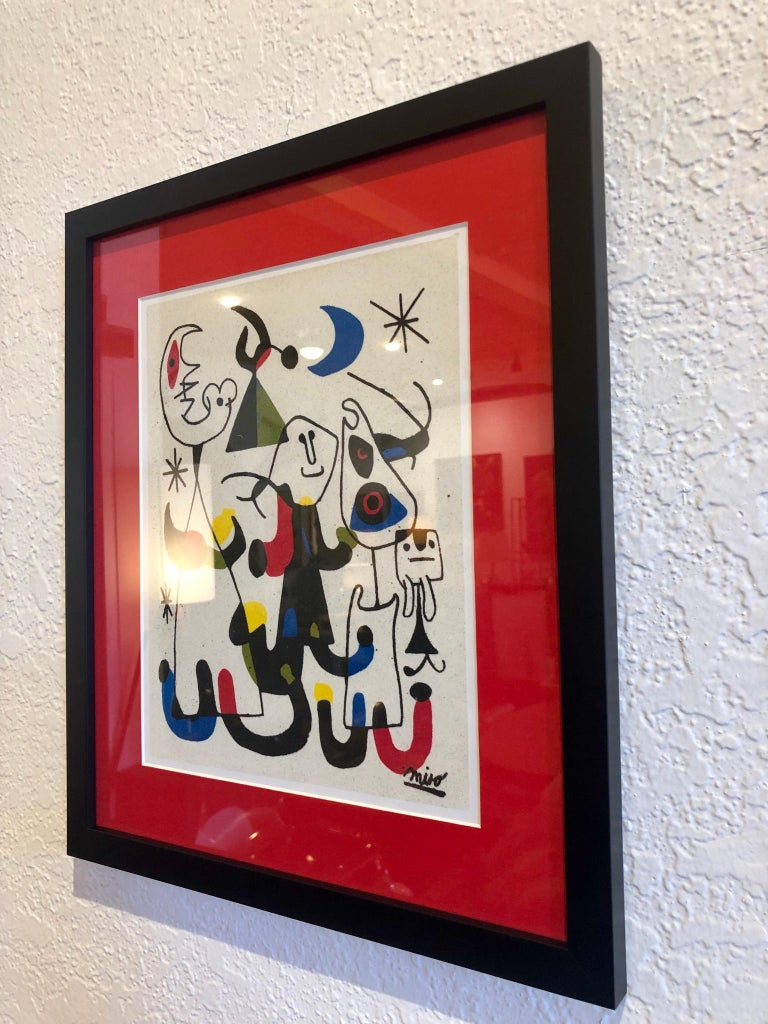 Mid-Century Modern Abstract Print by Joan Miro Printed on Marble Dust Paper For Sale