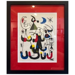 Abstract Print by Joan Miro Printed on Marble Dust Paper