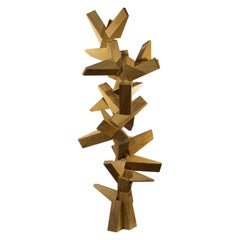Contemporary Abstract Reclaimed Solid White Oak Wood Assemblage by Dave Lasker