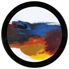 Abstract Round Acrylic Canvas Painting Mounted Smoke Plexiglass by Ted R. Lownik
