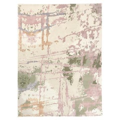 Hand-Knotted Autumnal Rug in Brushstrokes-Inspired Abstract Design