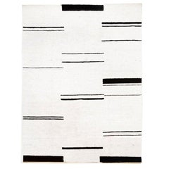 Abstract Rug, Hemp Design, White and Black