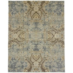 New Transitional Area Rug with Contemporary Abstract Style and Coastal Colors