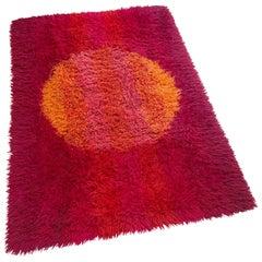 Abstract Scandinavian High Pile Panton Style Rya Rug Carpet, Sweden, 1970s