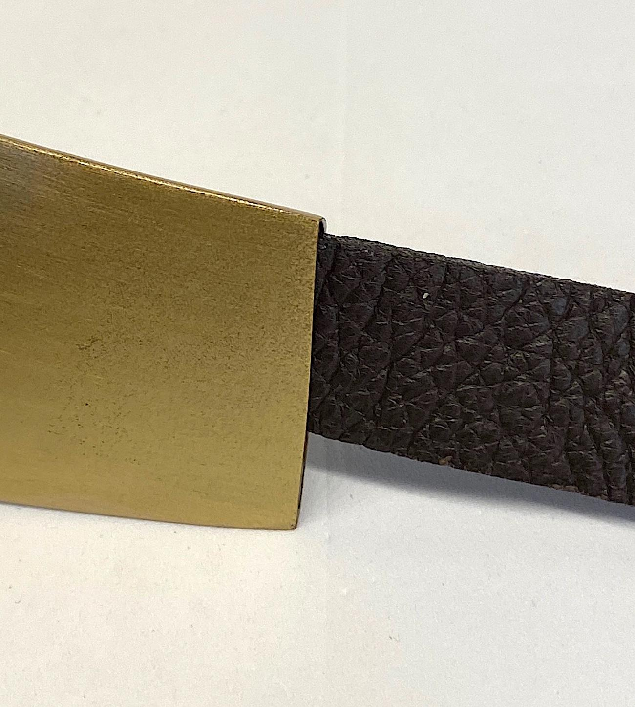Abstract Sculptural Brass and leather Belt