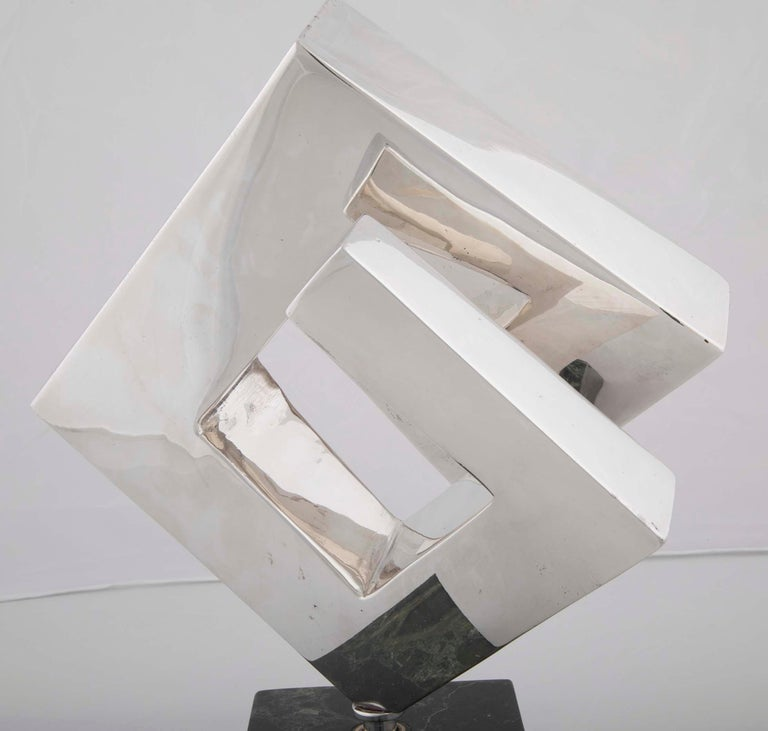 Silvered Abstract Sculpture by Lucile Driskell Resembling a Greek Key For Sale
