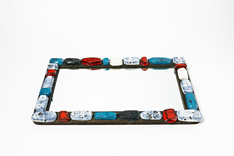 Mid-Century Modern Abstract Sculpture Ceramic Mirror by Klaus Schultz Red White and Blue Forms For Sale