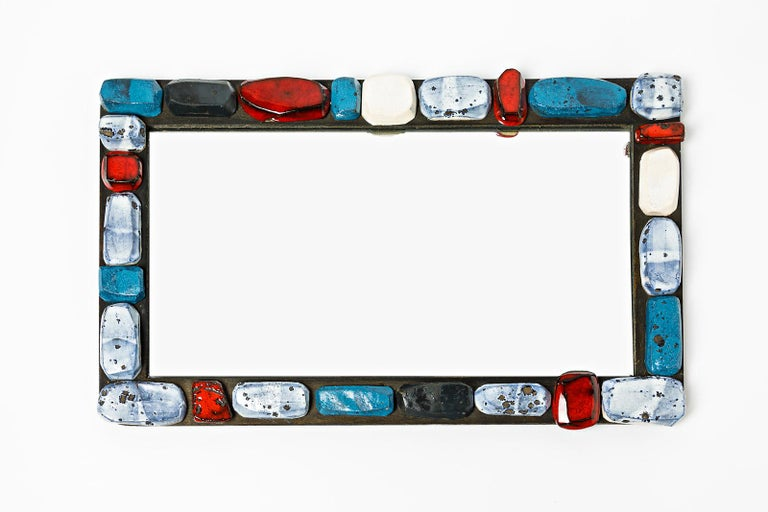 German Abstract Sculpture Ceramic Mirror by Klaus Schultz Red White and Blue Forms For Sale