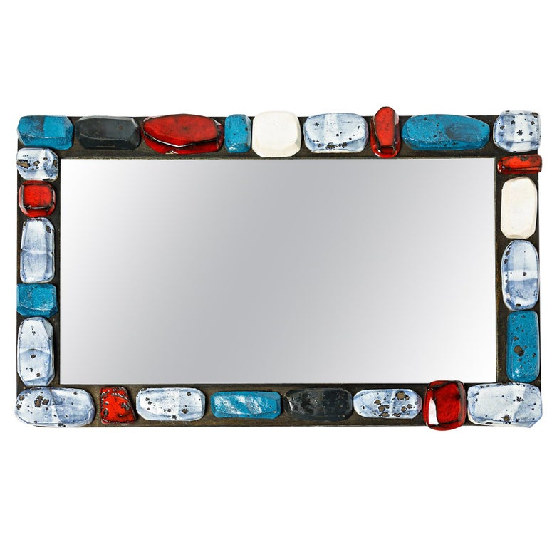 Abstract Sculpture Ceramic Mirror by Klaus Schultz Red White and Blue Forms For Sale