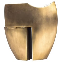 Abstract Sculpture in Bronze-Patina Brass by Patrick Coard Paris