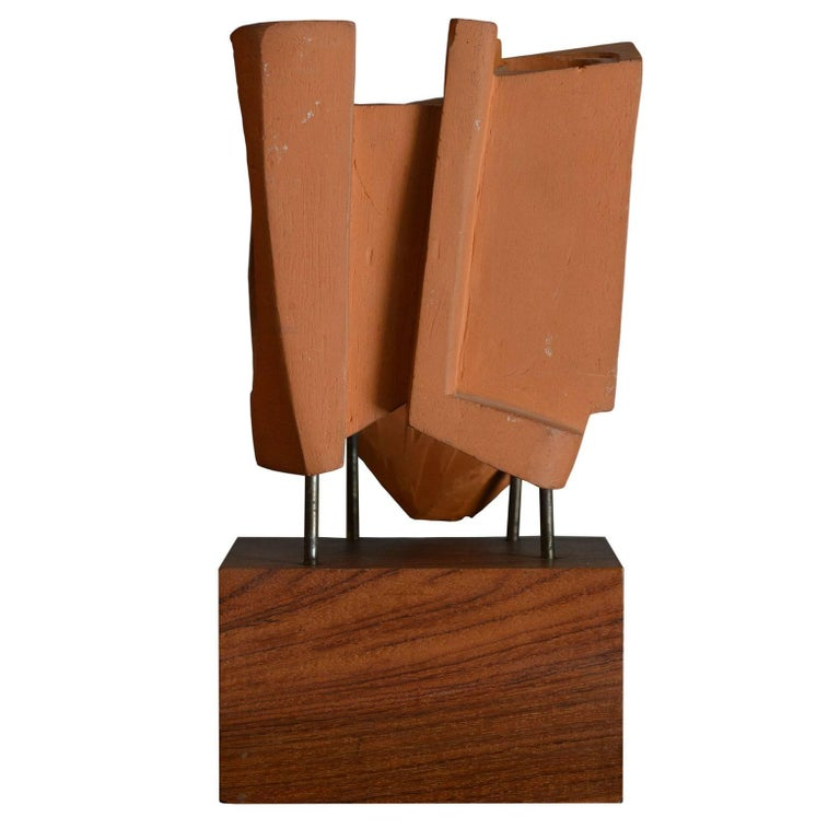 Mid-Century Modern Abstract Sculpture in Terracotta, Italy, 1968 For Sale