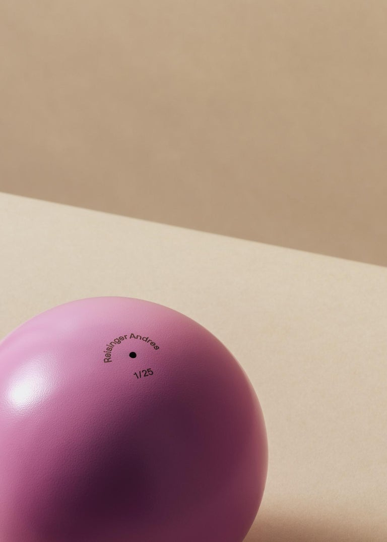 This is the AP #1 pink ball owned by Reisinger Andrés. Now placed in his Studio desk.  The design of this object was inspired by the weight of the pink spherical sculpture which was created by me for the Job Interview show at Last Resort Gallery