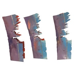 Abstract Set of Three Painted Metal Sculptures, 1980s