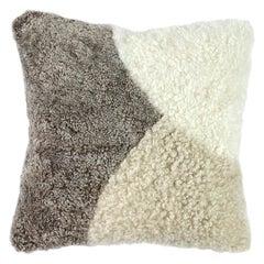 Abstract Shearling Pillow, Stone Pebbles