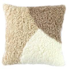 Abstract Shearling Pillow, Natural Pebbles