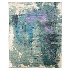 Abstract Silk and Wool Rug, Abstract Design over Green, Gray and Purple