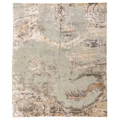 Abstract Silk and Wool Rug Design in Soft Colors over Gray
