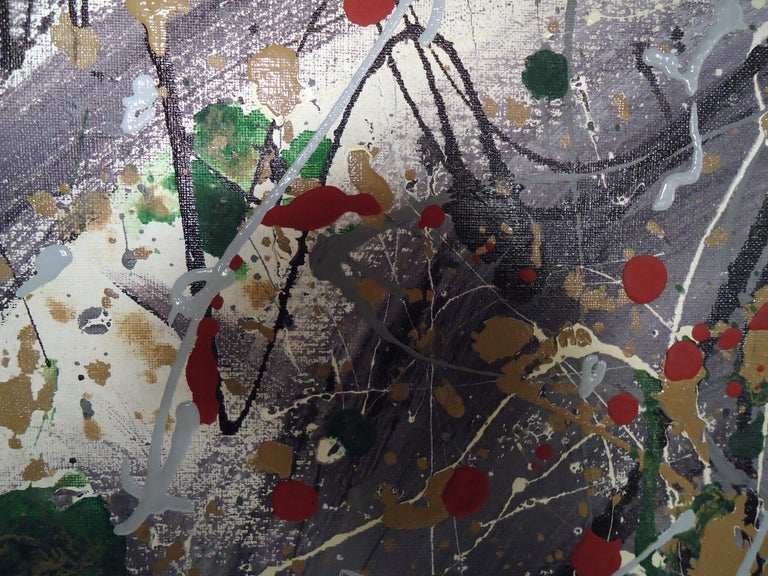 Mid-Century Modern Abstract Splatter Painting Signed by Artist For Sale