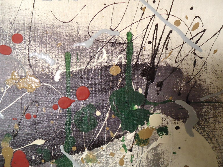 Mid-20th Century Abstract Splatter Painting Signed by Artist For Sale