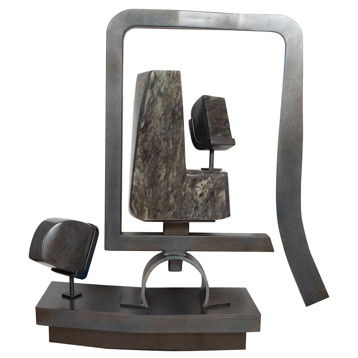 Abstract Steel and Marble Sculpture