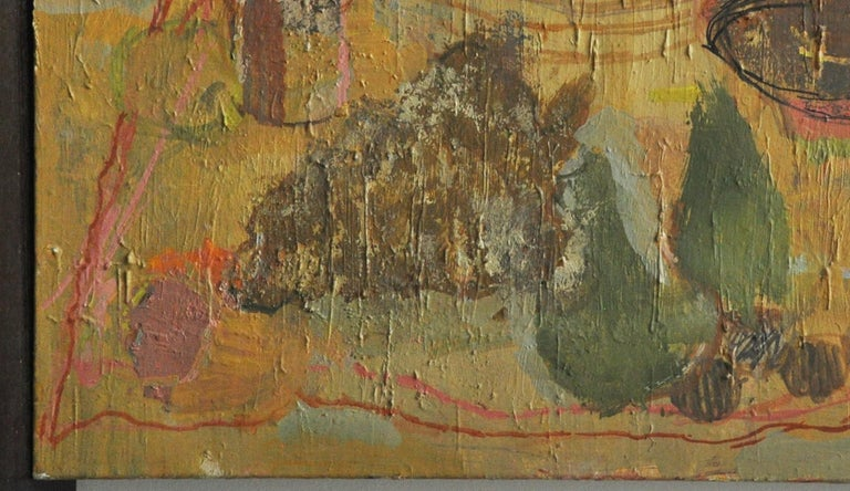 Abstract still life in muted tones of green, yellow and brown. Midcentury oil on canvas.