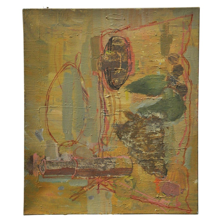 Abstract Still Life, Midcentury Oil on Canvas For Sale