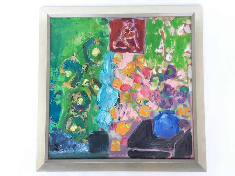 This still-life painting is by the late artist Peter Gee (1932-2005). It's a sensuously painted composition, the recognizable shapes wonderfully teetering towards abstraction with Gee's thick layering of oil paint. The palette is full of vitality