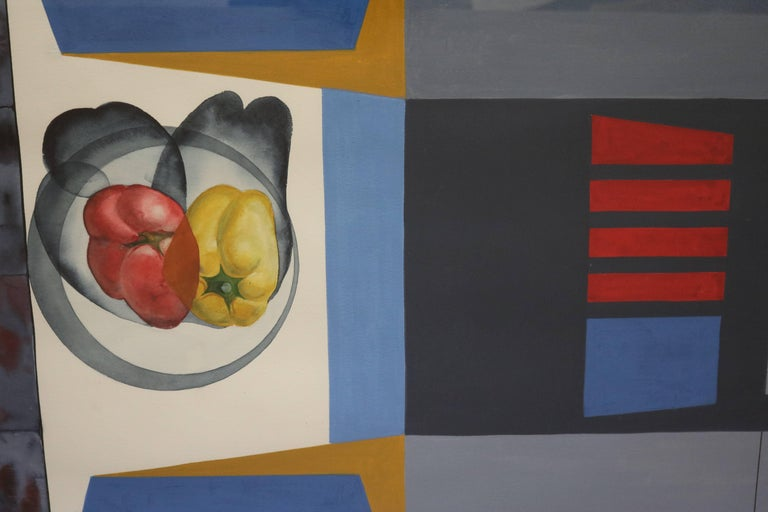 An abstract still life gouache of bell peppers in a bowl by prolific artist David Segel, in original frame. After studying at the Carnegie Institute in Pittsburgh, and the Art Institute of Chicago, David moved to Paris in 1950 to work and teach, He