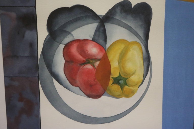 Mid-Century Modern Abstract Still Life with Peppers by David Segel For Sale