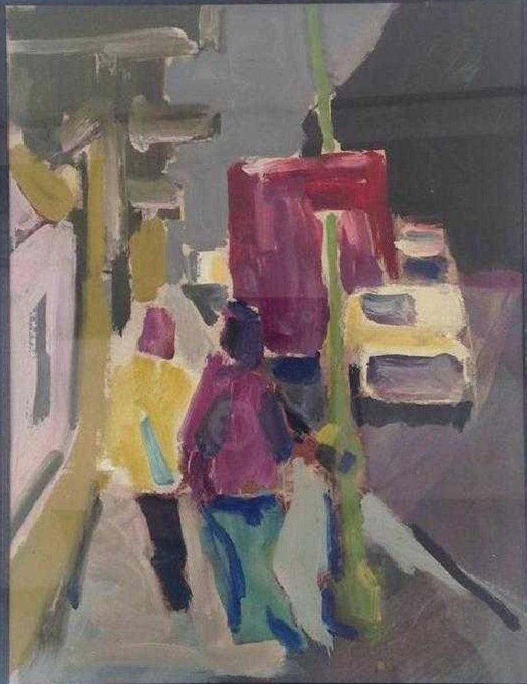 The 1970s oil-on-paper painting illustrates semi-abstractly a street scene with two figures, vehicle and building. Mulberry, yellow and green are the stand-out colors. Cream mat with black liner and gilt wood and black frame. No signature. Wired for