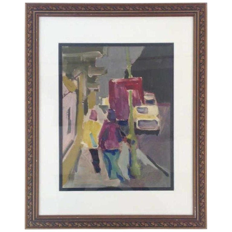 Abstract Street Scene Oil-on-Paper Painting For Sale