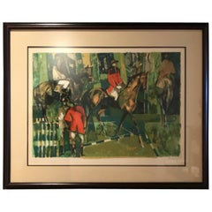 Abstract Style Equestrian Lithograph by Camille Hilaire