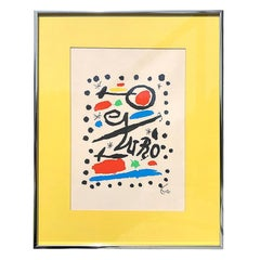 Abstract Colorful Yellow Geometric Surrealist Lithograph Print by Joan Miró