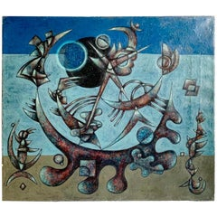 Abstract Surrealist Oil Painting in Manner of Wifredo Lam
