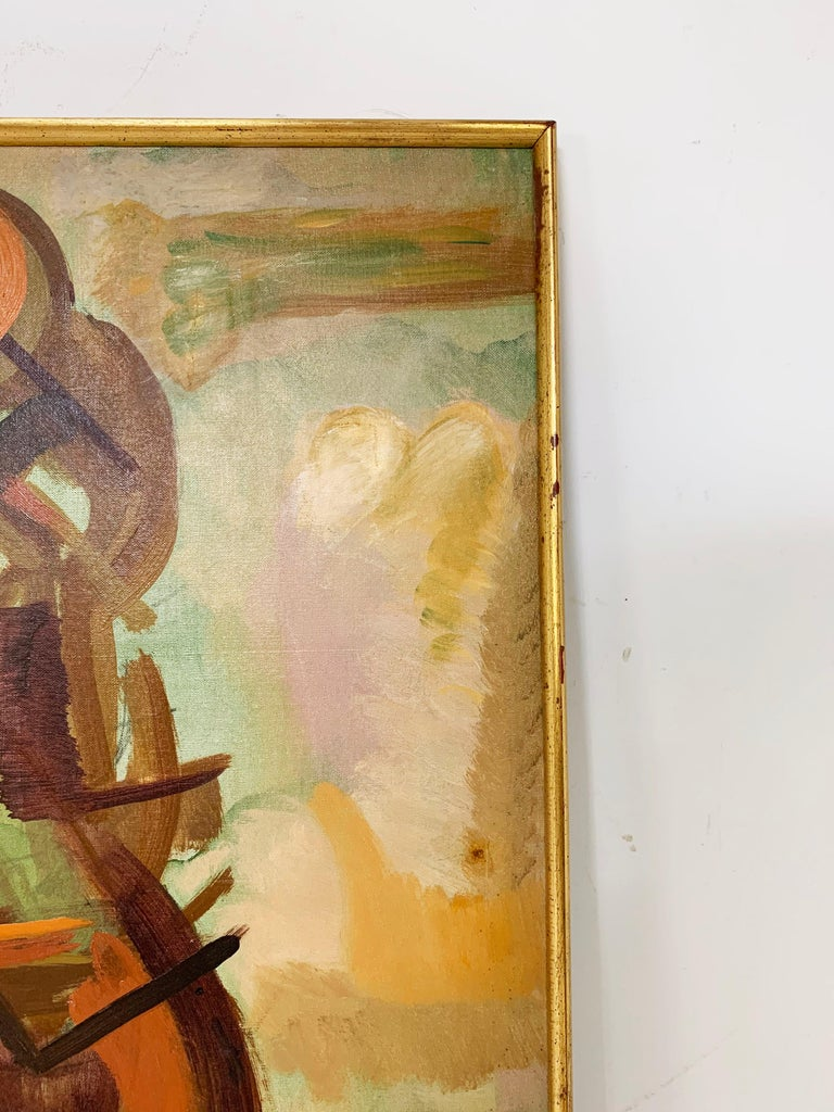 Abstract Symbolist Midcentury Oil Painting by Harold Mesibov, circa 1950s For Sale 4