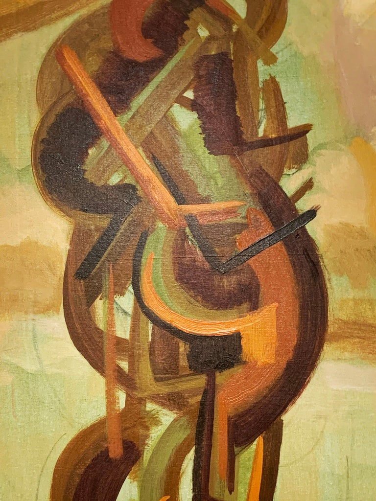 Abstract symbolist oil painting by Harold Mesibov, circa early 1950s.  Biography via Askart, supplied by The Boston Art Club: