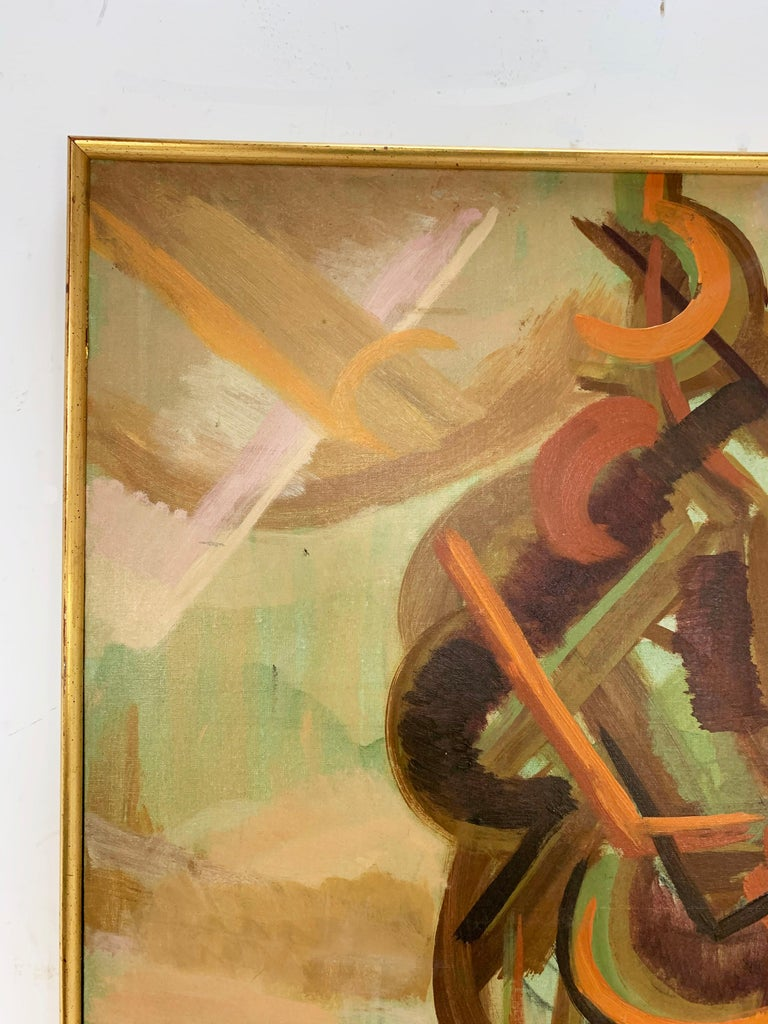 American Abstract Symbolist Midcentury Oil Painting by Harold Mesibov, circa 1950s For Sale