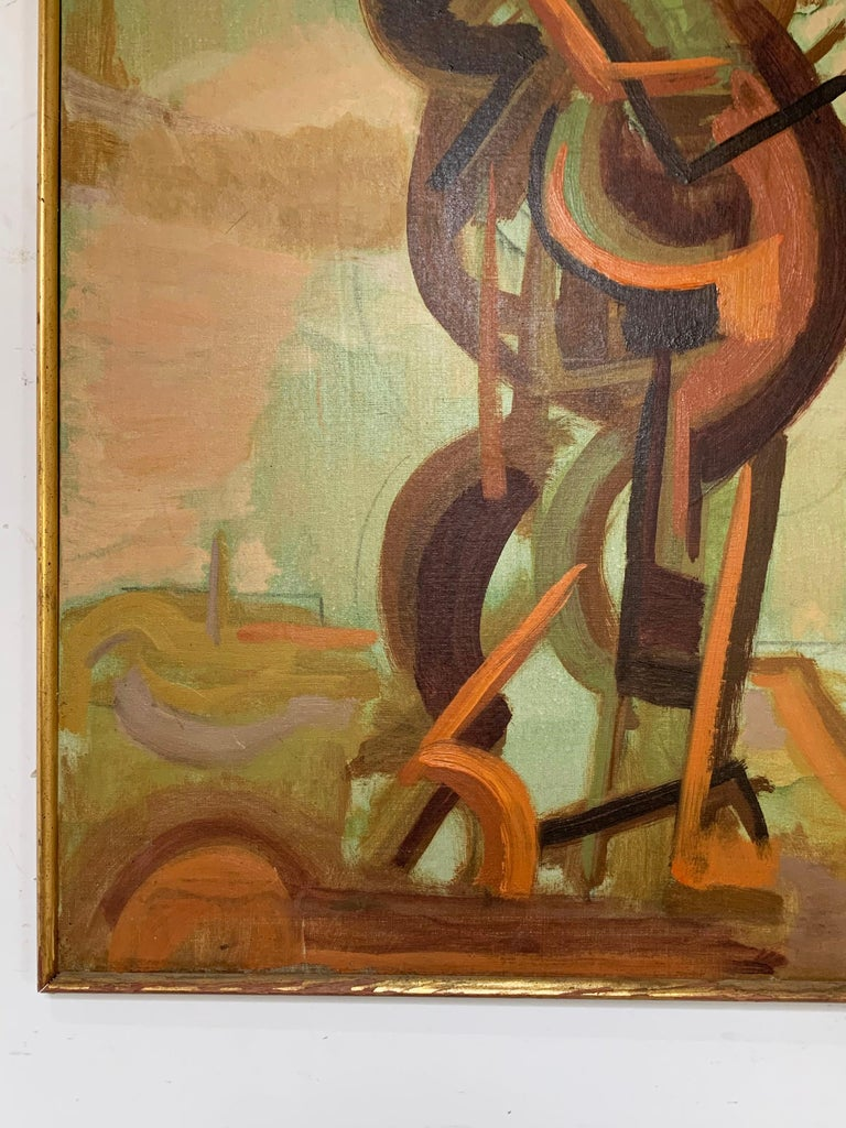 Abstract Symbolist Midcentury Oil Painting by Harold Mesibov, circa 1950s In Good Condition For Sale In Peabody, MA