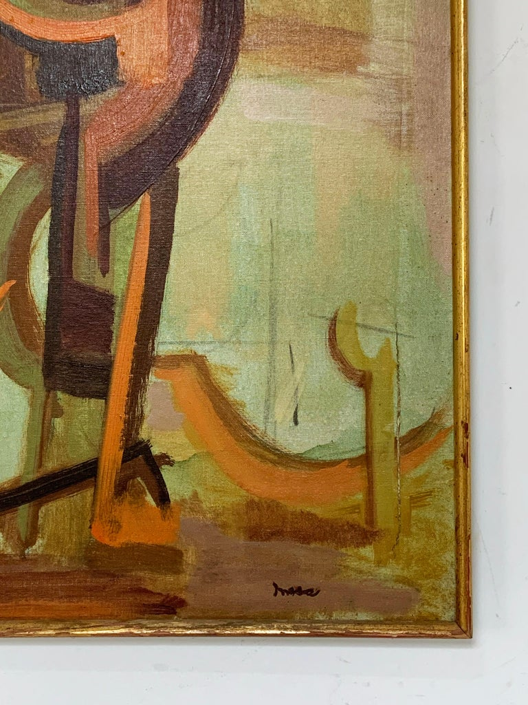 Mid-20th Century Abstract Symbolist Midcentury Oil Painting by Harold Mesibov, circa 1950s For Sale
