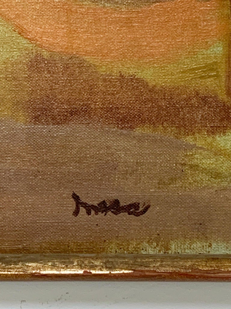 Canvas Abstract Symbolist Midcentury Oil Painting by Harold Mesibov, circa 1950s For Sale