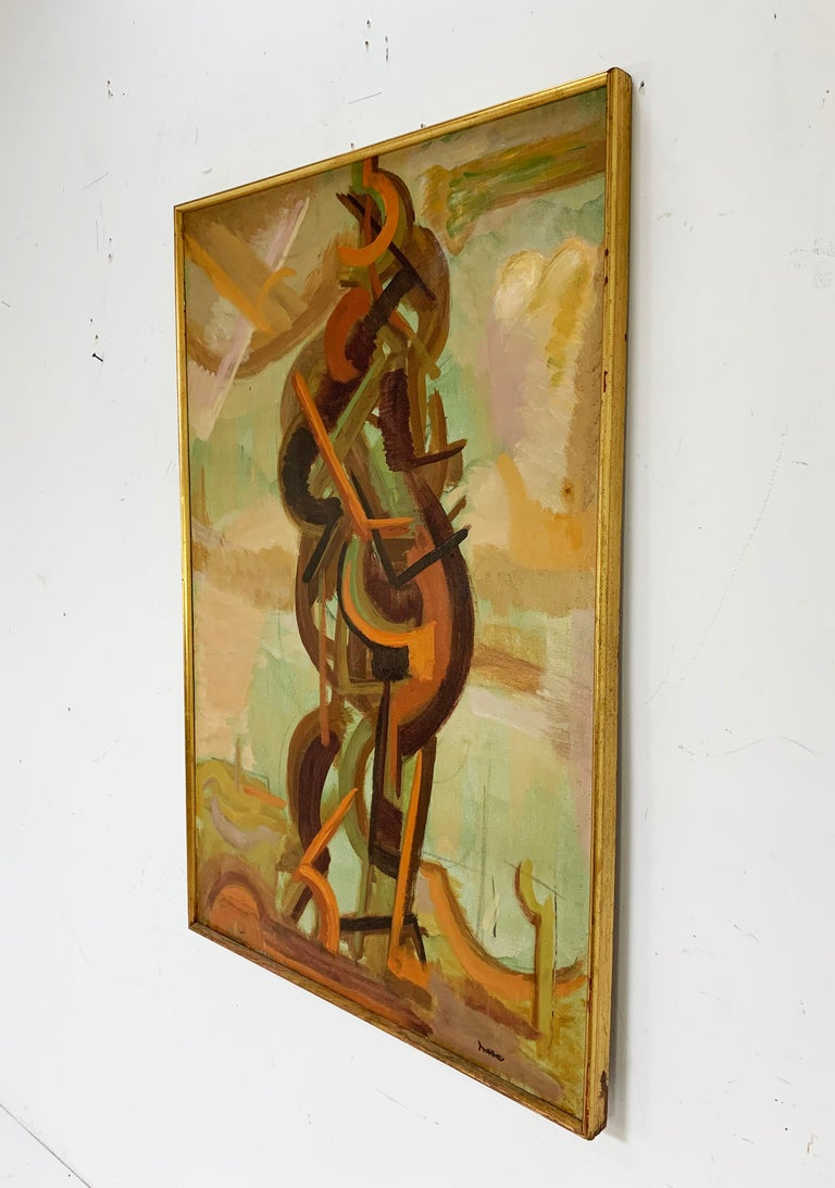 Abstract Symbolist Midcentury Oil Painting by Harold Mesibov, circa 1950s For Sale 1